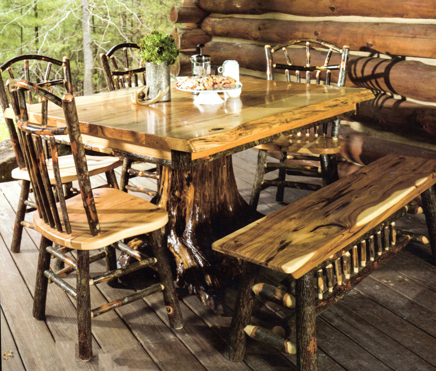 Dallas Ranch Solid Wood Rustic Dining Table Chairs Hutch Set: Byler's Rustic Oak & Hickory