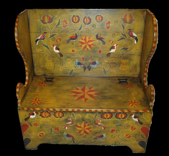 Kathy Graybill Painted Furniture. Pennsylvania German Fraktur, - Rustic Hickory Furniture